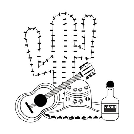 Mexico mariachi hat cactus and guitar with tequila celebrations cartoons vector illustration graphic design