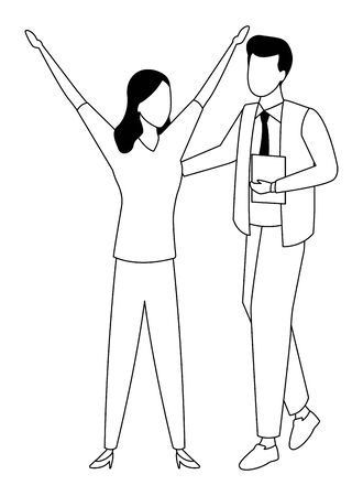 Businessman and businesswoman working and talking with office documents in black and white isolated faceless avatar vector illustration graphic design Ilustração