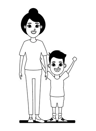 family avatar grandmother with bun next to a child profile picture cartoon character portrait in black and white vector illustration graphic design