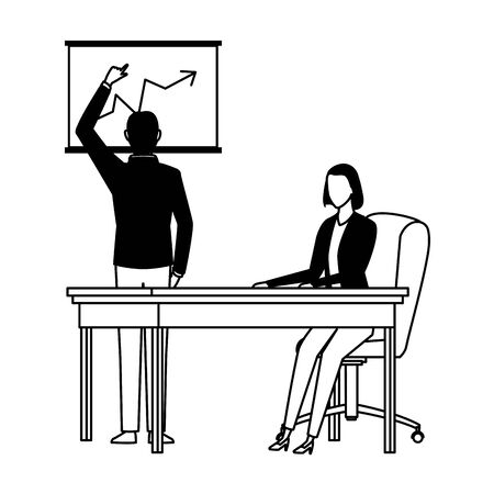 business business people businessman back view pointing a data chart and businesswoman sitting on a desk avatar cartoon character in black and white