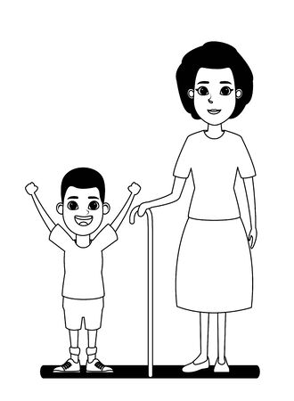 family avatar grandmother with cane next to afroamerican boy profile picture cartoon character portrait in black and white vector illustration graphic design 일러스트