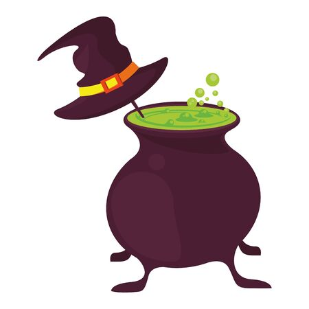 halloween witch hat with cauldron vector illustration design