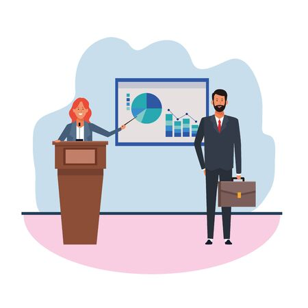 cartoon businesswoman at conference podium showing a graphic chart to businessman over white background, vector illustration Ilustração