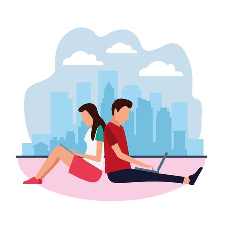 avatar man and woman using technology devices over white background, colorful design , vector illustration Çizim