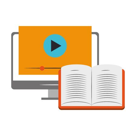 computer with video player on screen over white background, vector illustration