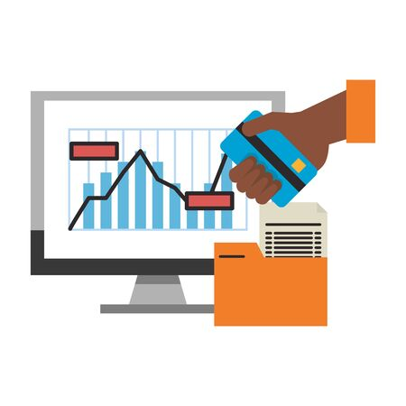 online stock market computer and hand with credit card with folder vector illustration Illustration