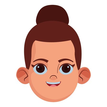 little kid girls face with bun avatar cartoon character profile picture portrait isolated vector illustration graphic design 일러스트