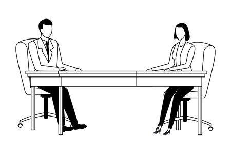 business couple avatar cartoon chararcter sitting on a desk in black and white vector illustration graphic design Ilustracja