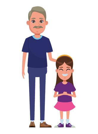 family avatar grandfather with moustache next to a child profile picture cartoon character portrait vector illustration graphic design