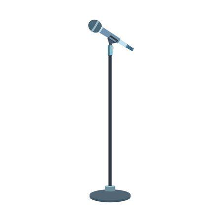 microphone stand icon over white background, flat design, vector illustration Vektorgrafik