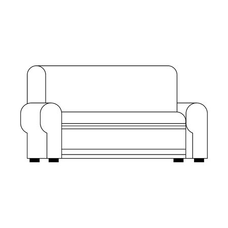 couch icon over white background, vector illustration Stock Illustratie