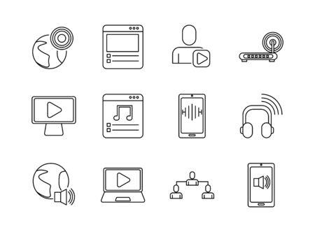 bundle of streaming set icons vector illustration design