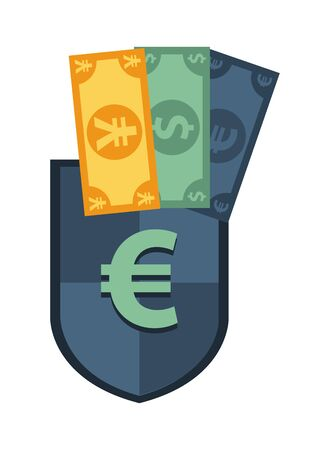 shield with euro symbol and bills vector illustration design