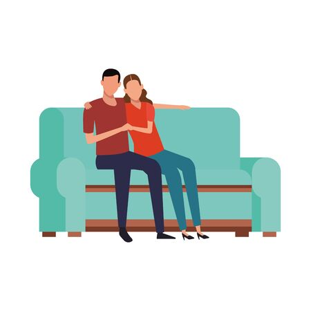 happy couple sitting on couch icon over white background, vector illustration