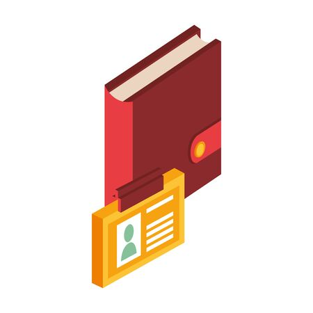 diary with id document isolated icon vector illustration design