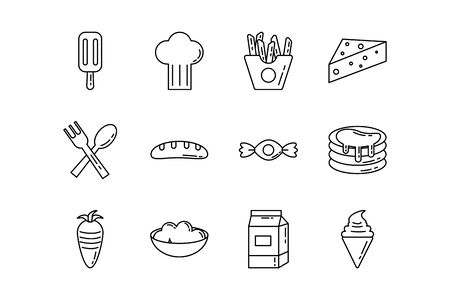 bundle of nutritive food set icons vector illustration design
