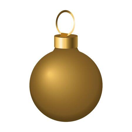 golden christmas ball icon over white background, vector illustration