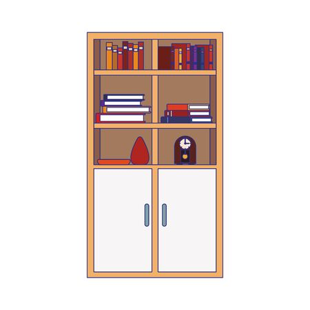 bookcase with cabinets and decorative ornaments over white background, vector illustration