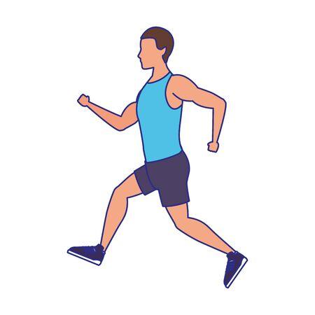 Avatar fitness hombre corriendo icono sobre fondo blanco, ilustración vectorial