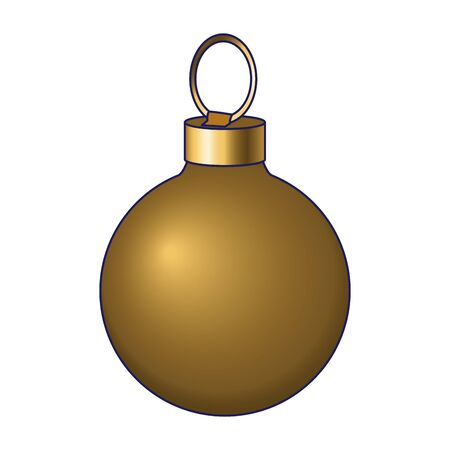 golden christmas ball icon over white background, vector illustration