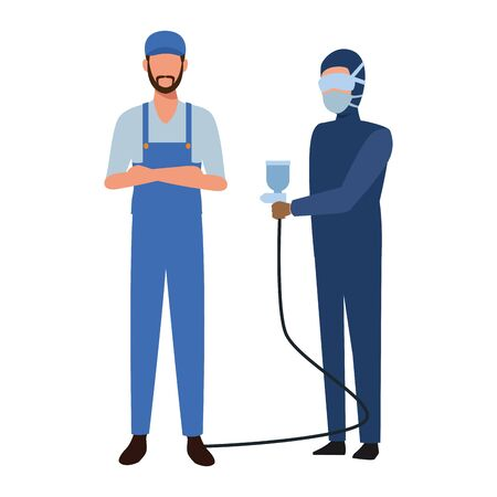 car service workers cartoon vector illustration graphic design Ilustracja