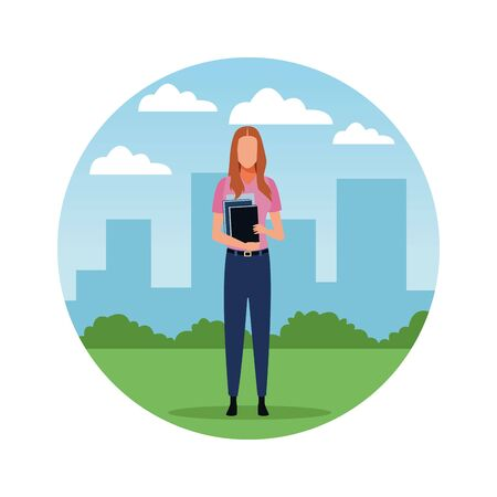 Teacher woman with books profession avatar in city park scenery round icon vector illustration graphic design