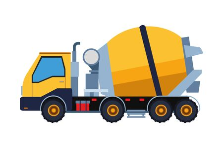 Construction vehicle cement truck vector illustration graphic design Çizim