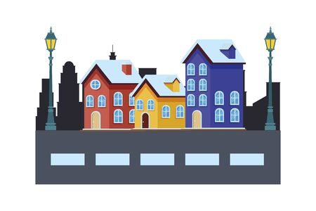 house and building in cityscape with streetlights vector illustration graphic design  イラスト・ベクター素材