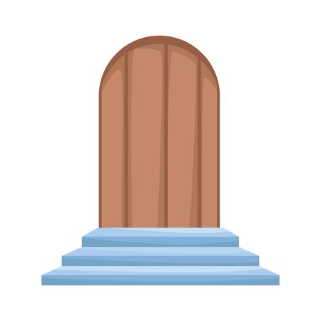 door and stairs icon over white background, vector illustration