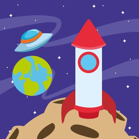 space rocket and flying saucer at the space with planets, colorful design. vector illustration