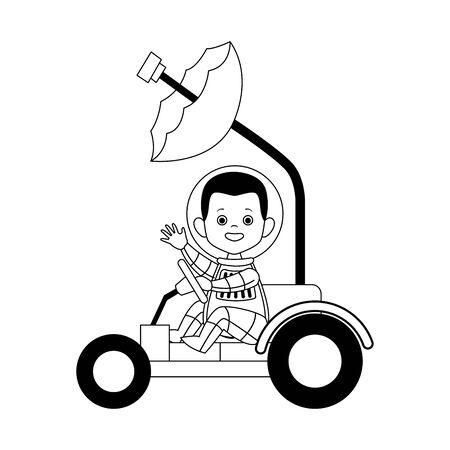 happy astronaut in a spacial car icon over white background, vector illustration Ilustracja
