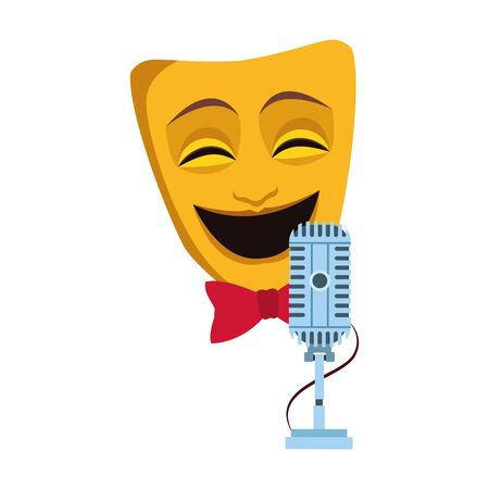 theater mask with retro microphone icon over white background, vector illustration