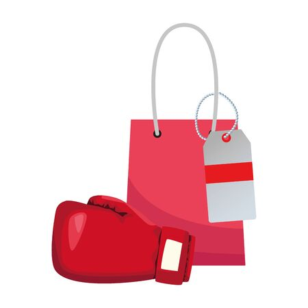 shopping bag and boxing glove icon over white background, colorful design, vector illustration