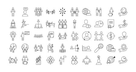 bundle of business success icons vector illustration design 일러스트