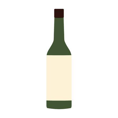 wine bottle icon over white background, vector illustration Иллюстрация