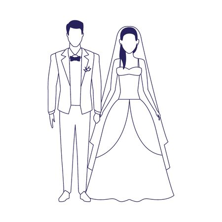 married couple icon over white background, vector illustration 일러스트