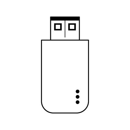 technlogy device usb cartoon vector illustration graphic design in black and white