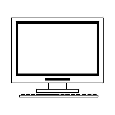technlogy device computer pc cartoon vector illustration graphic design in black and white