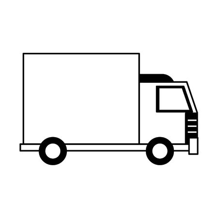 transport concept truck cartoon vector illustration graphic design in black and white