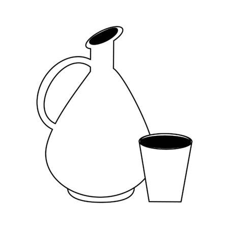 Antique wine jar with cup vector illustration graphic design Foto de archivo - 135431722