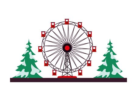 panoramic wheel attraction with pines trees vector illustration design