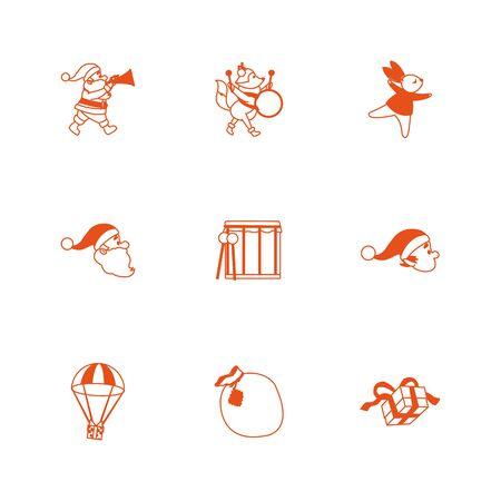 Icon set design, Merry christmas season decoration card invitation celebration and holiday theme Vector illustration Illusztráció