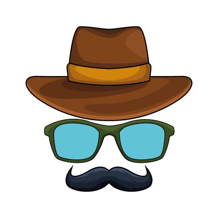 western hat with glasses and mustache icon over white background, vector illustration
