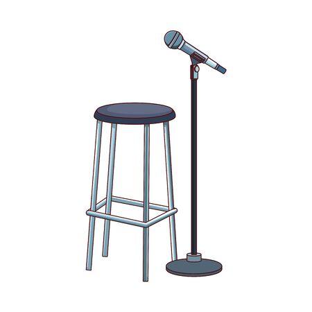 bar stool and microphone stand icon over white background, vector illustration Ilustração Vetorial