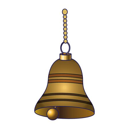 golden bell hanging icon over white background, vector illustration Illusztráció