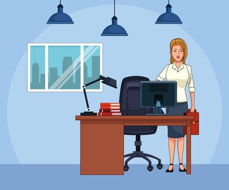 cartoon businesswoman at office desk, colorful design , vector illustration Imagens - 135448604