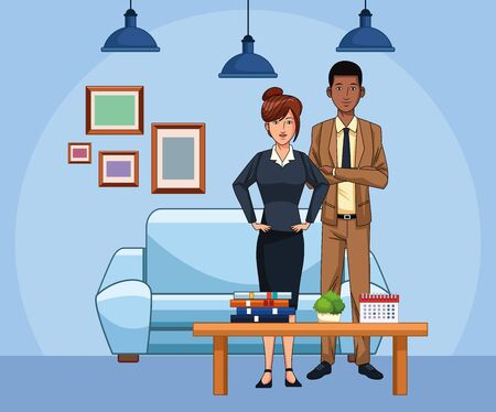 cartoon businesswoman and businessman at office living room, colorful design , vector illustration