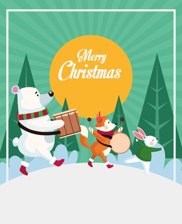 merry christmas card with animals playing instruments vector illustration design Illusztráció