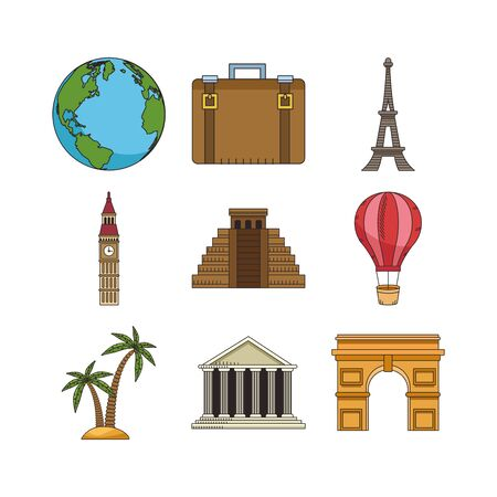 travel and monuments of the world icon set over white background, colorful design , vector illustration