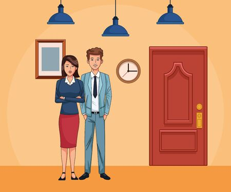businesswoman and businessman next to water door at office scenery background, colorful design , vector illustration